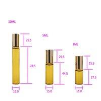 3ml 5ml 10ml mini rolo na garrafa de vidro perfume perfume Âmbar marrom grosso garrafas de vidro de frasco de óleo de aço essencial bola de rolos de metal