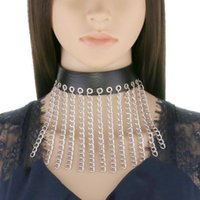 Multilayer Long Tassel Choker Punk Collar Goth Necklace Women Men Fashion Vegan Leather Harajuku Gothic Jewelry Halloween