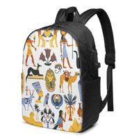 Backpack School Laptop Antica religione egiziana da 17 pollici da 17 pollici multi borsa caricatore USB
