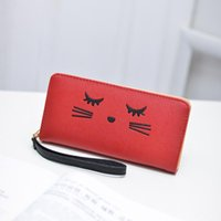 Wallets 2021 Fashion Women's Bag Beautifully Embroidered Squint Cat Single Zip Wallet With Wrist Strap Little Girl Clutch