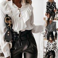 2021 Fall Long Sleeve Ruffle V-neck Pullover Button Shirt Women's Wear