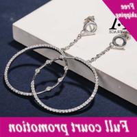 SA SILICTERS CERLING Circle Hook للنساء Zirconia Long 925 الفضة الأقراط الكبيرة بوكل دي أوريليل