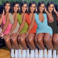 Femmes Casual Sexy Fermeture à glissière imprimée Robe étanche Designers Robe d'été Mini jupe Sans Manches Sans Nightclub Plus Taille Vêtements pour femmes