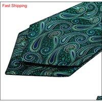 하이 넥타이 녹색 꽃 무늬 100 % 실크 ascot 포켓 스퀘어 커프프 플링크 캐주얼 자카드 드레스 스카프 Qylutj homes2007