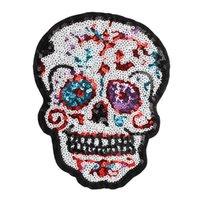 Полотенце вышивка мультфильм блестение черепных патчей из бусины ткань на заказ на заказ на красочный стикер большой размер лоскутное аппликация для одежды сумка рюкзак