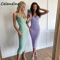 Casual Dresses Celandine Sexy Knitted Summer Club Fashion Women Midi Wrap Bodycon Sweat Dress Strap Tank V Neck Ladies Party 2021