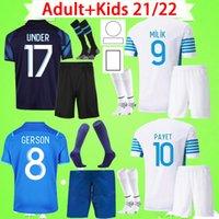 Vuxen + Kids kit med strumpor Marseille Soccer Jerseys målvakt 2021 2022 Om Maillot de Foot Payet Thauvin Benedetto 21 22 Fotbollskjorta Pojkar Set Mens kostym Barn