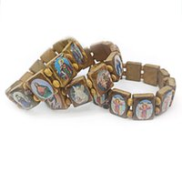 Religious Catholic Jewelry Christian Supplies Wooden Icon Drip Oil Stretch Rosary Bracelets