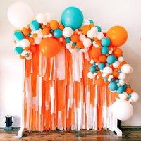 Маркарон Оранжевый белый воздушный шар гирлянды арки набор с фоном стримера для детской душевой девочки дети хеллоуин день рождения декор