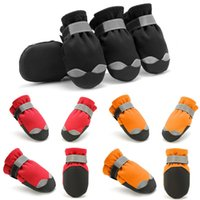 Dog Apparel 4pcs set Waterproof Winter Pet Shoes Anti-slip Puppy Cat Rain Snow Boots Thick Warm Soft Socks For Small Middle Dogs