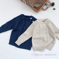 Autumn toddler kids twist knitted sweater pullover baby boys shoulder buckle long sleeve jumper infant girls cotton casual tops Q2228