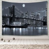 Table Ploth York City Skyline Tovaglia Cover, Brooklyn Bridge Bridge East River Manhattan Skyscrapers Lights Moon Night