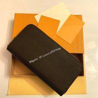 2021 Оптовая продажа роскоши дизайнерский кошелек Цвета мода одиночная молния мужчин женщин кожаный кошелек леди дама длинный кошелек с оранжевой коробкой