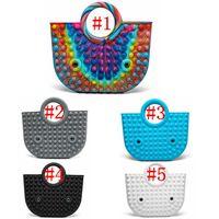 Handbag Push Bubble Fidget Toy Party Favor 35*30cm Totes Creative Storage Bag Rainbow Silicone Stress Reliever Sensory GWD8906
