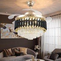 Современный свет роскошный невидимый потолочный вентилятор лампы бытовой гостиной столовая спальня кристалл светодиодный инвертор вентиляторы