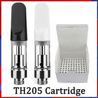 0.5ml 0.8ml 1.0ml Cerâmica Vape Cartuchos Atomizador Th205 Bocados Pretos Brancos 2,0mm Bobinas Carrinhos De Vidro
