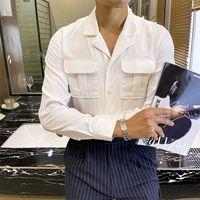 남성 셔츠 솔리드 화이트 스트리트웨어 더블 포켓 셔츠 캐주얼 슬림 칼라