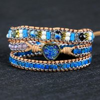Tennis 2021 Exclusive Natural Stone Blue Heart Shape Charm Leather Bracelet Vintage Style Lovers Friendship Jewelry Drop