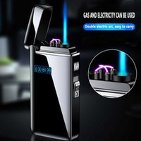 New Windproof Metal USB Lighter Torch Plasma Dual Arc LED Gas Rechargeable Electric Butane Jet Gadgets Man H0916