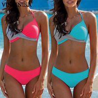 Viniknika 2021 Push Up Swimsuit Sexy Bikinis Set Halter Top Bikini Mujeres Cofre Cross Swimwear Mujeres Traje de baño BIQUINI BIKINIS X0701