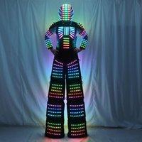 パーティーの装飾フルカラーピクセルStilts Walker LEDスーツロボット衣装衣服ヘルメットレーザーの手袋のCO2ガンジェット機