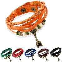 Tennis Multi Layers Colorful Genuine Leather Bracelets Wood Beads+Tower Pendant Handmade Bangles Unisex Jewelry Decorations