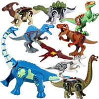 8pcs lot Jurassic Dino world Tyrannosaurus Rex Wyvern Velociraptor Stegosaurus Building Kits Bolcks Dinosaur figures Raptor Toy 210901