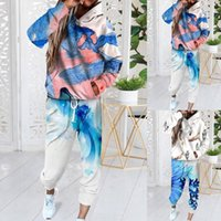 Yoga Outfit Print Sweatsuit Set For Women Two Piece Outfits Oversized Sweatshirts Tops And Sweatpants Jogger Tracksuits Loose Trousers