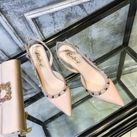 Luxury Dress Shoes v Home Rivet High Women's Thin Heels Versatile Pointed Willow Nail Middle Heel Xialiuding Baotou Sandals in 2021