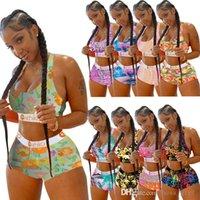 Women Tracksuits Swimwear Ethika Designer Sexy Sleeveless Vest Shorts Two Piece Sets Swimsuits Pattern Printed Bikini 9 Colors Swimming