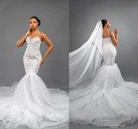 Vintage Arabic Mermaid Wedding Gowns 2021 Sexy Spaghetti Straps Backless Lace Appliques Beaded Vestidos De Novia Court Train Tulle Bridal Dresses Plus Size AL8970