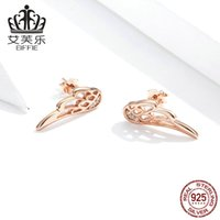 WOSTU Genuine 925 Sterling Silver Fairy Wings Stud Earrings For Women Rose Gold Earrings Wedding Engagement Jewelry CQE343-C 987 T2