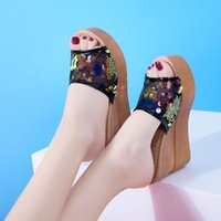 Sandals Womens High Heels Sandal Sequins Casual Shoes Ladies Leisure Summer Wedges Woman Women Platform Mules Slipper