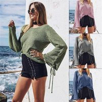 Women's Sweaters Women Knitted Pullovers Round Collar Strap Sweater Shirt Winter And Clothing Fashion Casual Beach Style Loose
