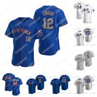 Nova Iorque Mets 12 Francisco Lindor Pete Alonso Jeff McNeil Jacob Degrrom Edwin Diaz Marcus Stroman Jonathan Villar J.D. Davis Jersey