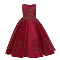 Girl's Dresses Children Evening Party Dress Flower Girls Wedding Ball Gown Kids For Embroidered Bead Princess 10 12 14 Year