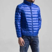 Fashion Men Solid Color Nylon Thin Quilted Down Jacket Chic Male Warm Hooded Zipper Down Parka Down Coat