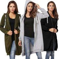 Women's Hoodies & Sweatshirts 2021 Autumn Casual Women Long Sweatshirt Coat Zip Up Outerwears Hooded Jacket Winter Pockets Outwear Tops