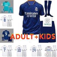 Homens Crianças + Meias Real Madrid Futebol Jersey Quarto 20 21 22 Hazard Asensio Sergio Ramos Camiseta 2021 2022 Vini Jr Mendy Futebol Camisas