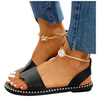 Sandals Women Sandles Flats Fashion Pearl Buckle For Summer Solid Color Casual Non Slip Beach Woman 2021 Brand