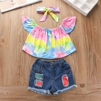 Children Clothing Sets Girls Outfits Baby Clothes 2021 Fashion Kids Suits Child Wear Summer Short Sleeve Tops Blouses Denim Skirt 2Pcs