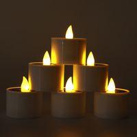Solar Power LED Tea Lights Candle Flameless Candles Solars for Windows Home Decoration Garden Outdoor Lantern crestech168