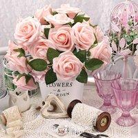 Flores decorativas Grinaldas Faroot Rosas Artificiais Real Famejando Espuma Falsa Decoração DIY para Casamento Bouquets Romântico Flor