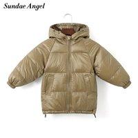 Sundae Angel Niños Abrigo invierno niñas abajo algodón acolchado niños con capucha chaqueta sólida para niños ropa exterior cálido ropa de ropa exterior 210903
