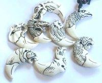 10 pcs Cool Boy Men's Imitation Vintage Yak Bone Carved Pendant Necklace Amulet Tooth Adjustable Rope Gift
