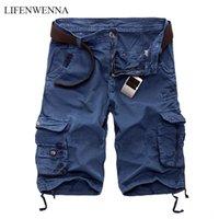 Lifenwenna Erkek Kargo Şort 2021 Marka Yeni Ordu Kamuflaj Taktik Şort Erkekler Pamuk Gevşek İş Rahat Kısa Pantolon
