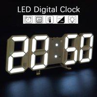 LED grande LED Reloj de pared Digital Tiempo Celsius Nightlight Mostrar mesa Relojes de escritorio Alarma de sala de estar