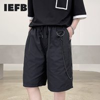 Short Eefb Summer Cuasal Knee Length Mode Loose Track Cable Elastic Wiast Black Beach with Chain Wijde Pipes Y1236