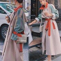 المرأة عارضة سترة واقية طويلة كبيرة سترة الرياح البريطانية مزدوجة الصدر معطف معطف الخندق