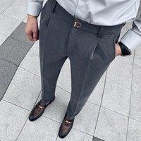Men's Suits & Blazers Autumn Winter Solid Business Dress Pants Men Korean Slim Fit Casual Office Social Suit Wedding Groom Trousers Clothing